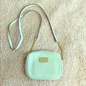 Michael Kors white and gold Crossbody bag